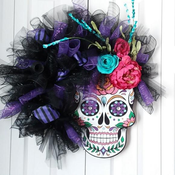 greenirishmoon Other - Sugar skull day of the dead wreath wall hanging